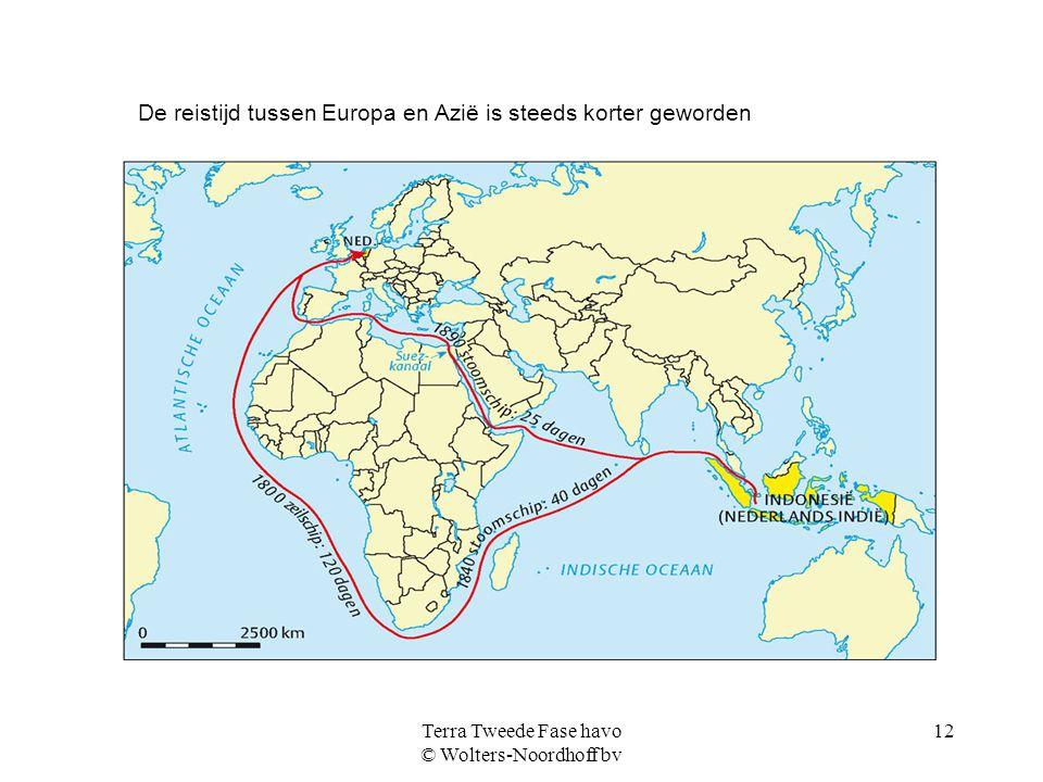 Terra Tweede Fase havo © Wolters-Noordhoff bv 12 De reistijd tussen Europa en Azië is steeds korter geworden