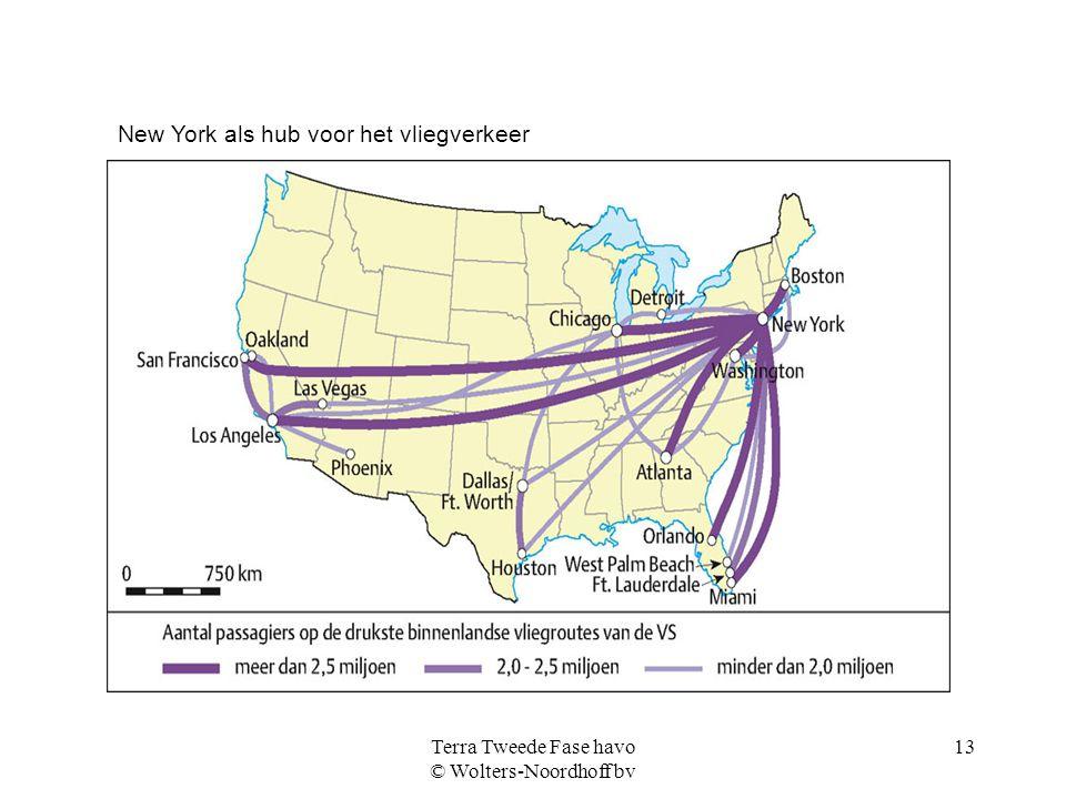 Terra Tweede Fase havo © Wolters-Noordhoff bv 13 New York als hub voor het vliegverkeer