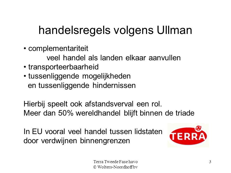Terra Tweede Fase havo © Wolters-Noordhoff bv 3 handelsregels volgens Ullman complementariteit veel handel als landen elkaar aanvullen transporteerbaa