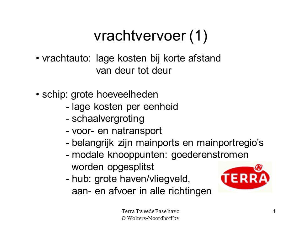 Terra Tweede Fase havo © Wolters-Noordhoff bv 4 vrachtvervoer (1) vrachtauto: lage kosten bij korte afstand van deur tot deur schip: grote hoeveelhede