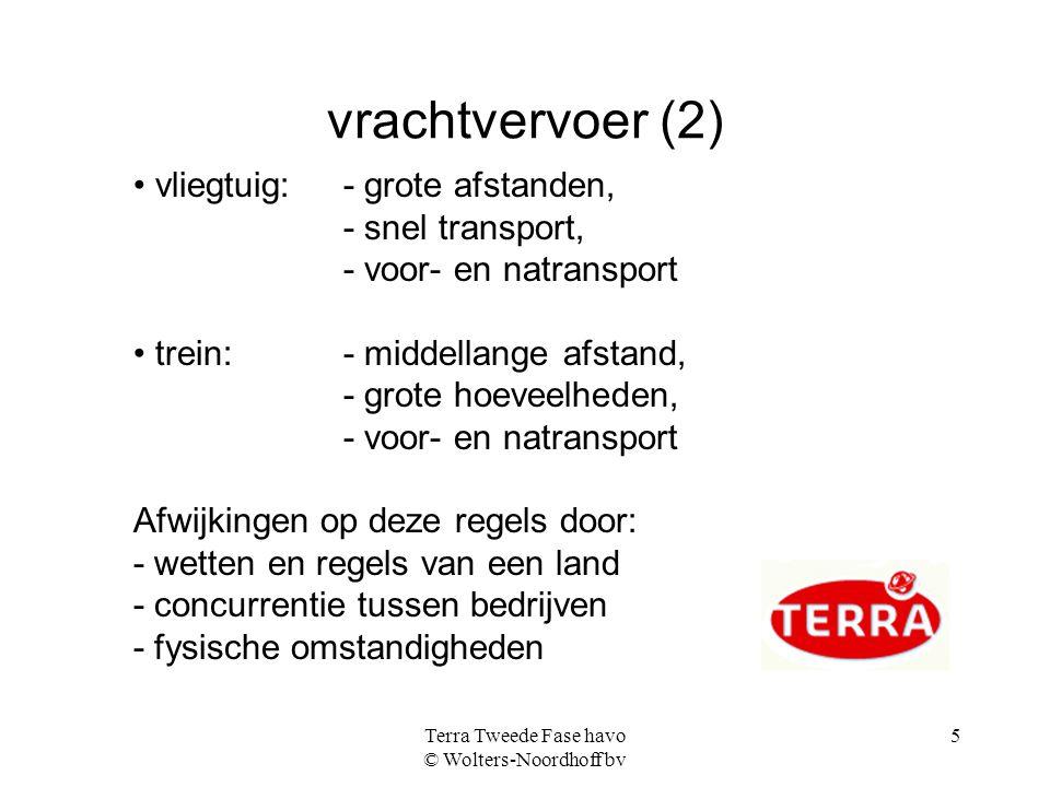 Terra Tweede Fase havo © Wolters-Noordhoff bv 5 vrachtvervoer (2) vliegtuig: - grote afstanden, - snel transport, - voor- en natransport trein: - midd