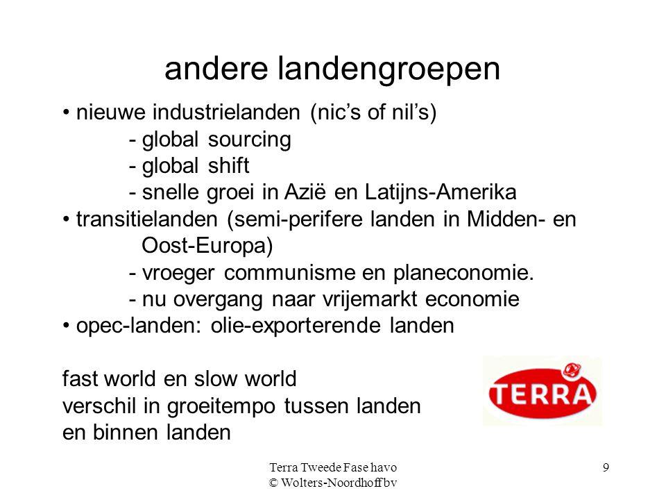 Terra Tweede Fase havo © Wolters-Noordhoff bv 9 andere landengroepen nieuwe industrielanden (nic's of nil's) - global sourcing - global shift - snelle