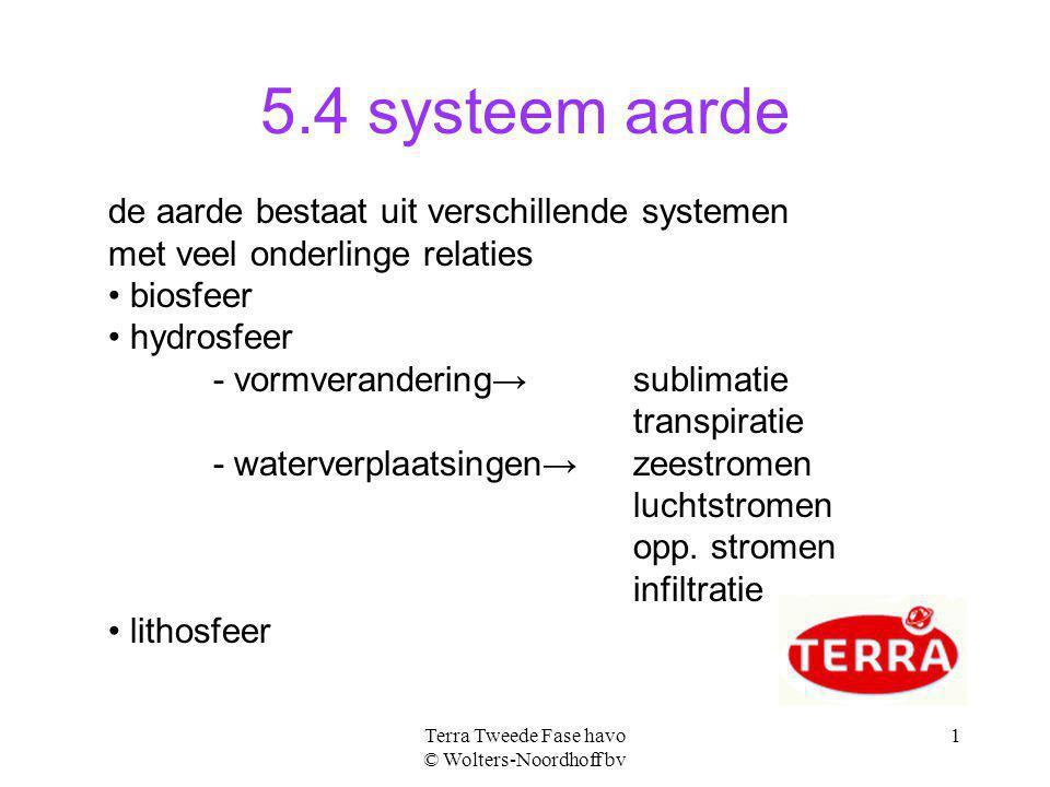 Terra Tweede Fase havo © Wolters-Noordhoff bv 1 5.4 systeem aarde de aarde bestaat uit verschillende systemen met veel onderlinge relaties biosfeer hy