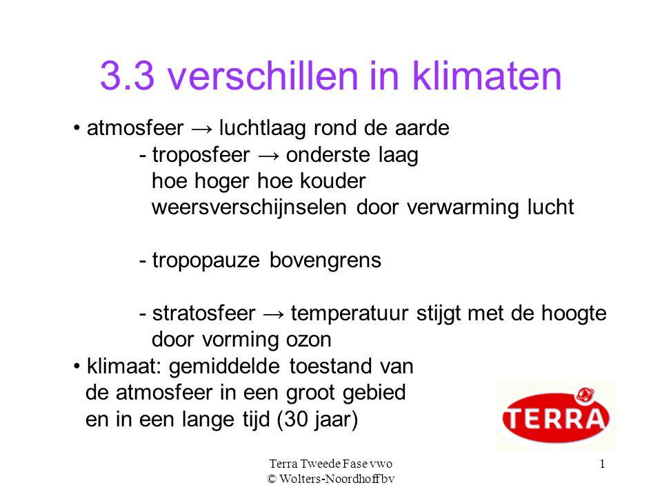 Terra Tweede Fase vwo © Wolters-Noordhoff bv 1 3.3 verschillen in klimaten atmosfeer → luchtlaag rond de aarde - troposfeer → onderste laag hoe hoger