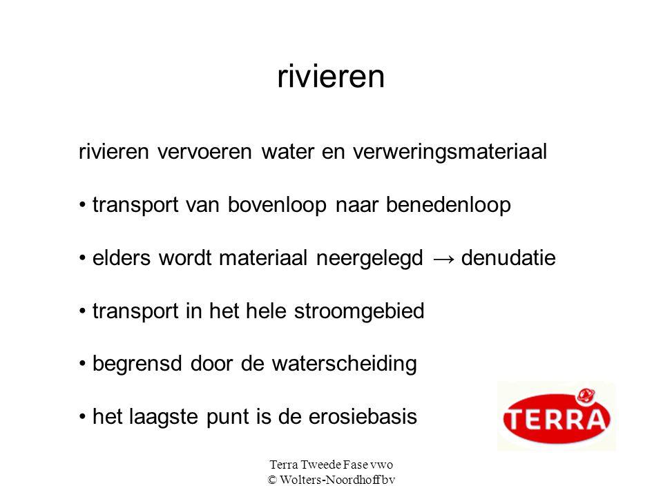 Terra Tweede Fase vwo © Wolters-Noordhoff bv rivieren rivieren vervoeren water en verweringsmateriaal transport van bovenloop naar benedenloop elders