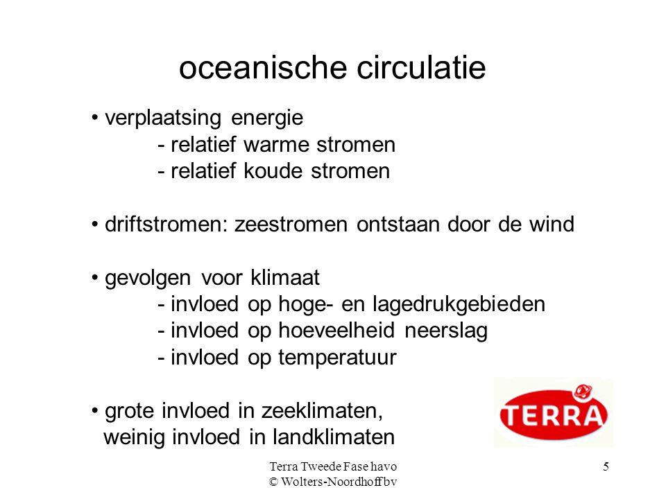 Terra Tweede Fase havo © Wolters-Noordhoff bv 6 klimaten worden bepaald door: breedteligging (hoeveelheid zonne-energie) ligging hoge- en lagedrukgebieden winden zeestromen hoogteliggingstuwingsregen regenschaduw