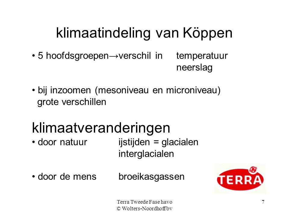 Terra Tweede Fase havo © Wolters-Noordhoff bv 8 De opbouw van de atmosfeer hoogte 10 100 temperatuur0° C