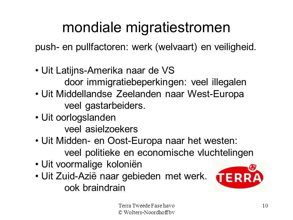 Terra Tweede Fase havo © Wolters-Noordhoff bv 10 mondiale migratiestromen push- en pullfactoren: werk (welvaart) en veiligheid. Uit Latijns-Amerika na