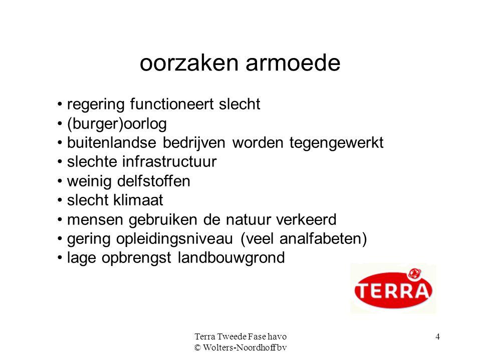Terra Tweede Fase havo © Wolters-Noordhoff bv 4 oorzaken armoede regering functioneert slecht (burger)oorlog buitenlandse bedrijven worden tegengewerk