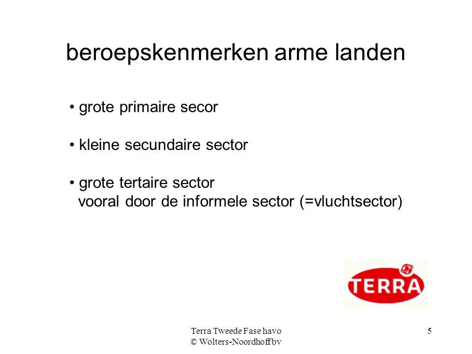 Terra Tweede Fase havo © Wolters-Noordhoff bv 5 beroepskenmerken arme landen grote primaire secor kleine secundaire sector grote tertaire sector voora