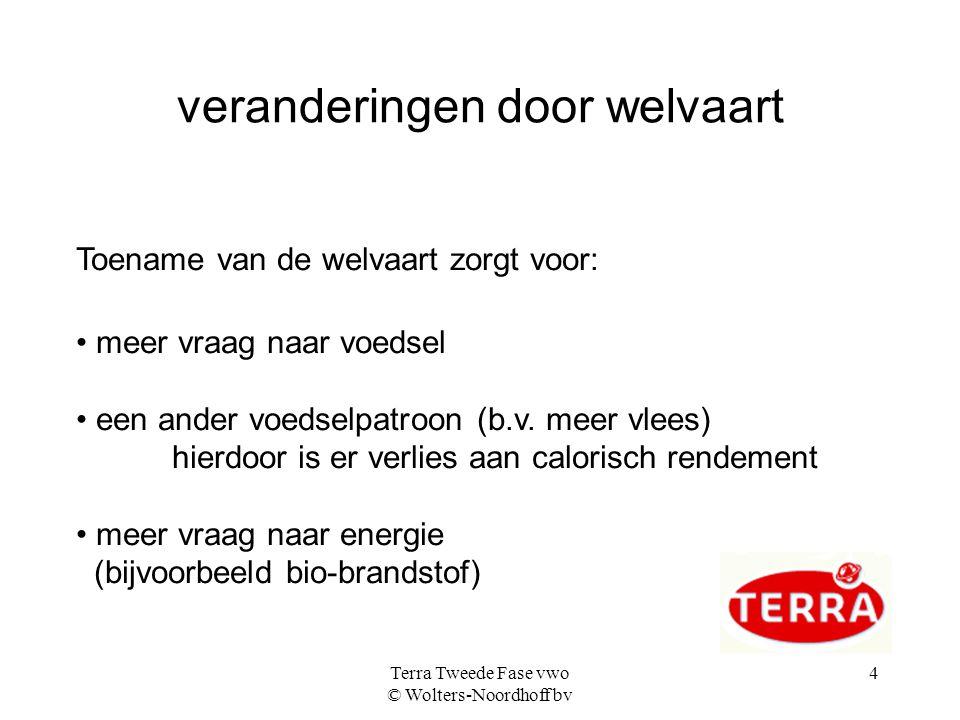 Terra Tweede Fase vwo © Wolters-Noordhoff bv 4 veranderingen door welvaart Toename van de welvaart zorgt voor: meer vraag naar voedsel een ander voeds
