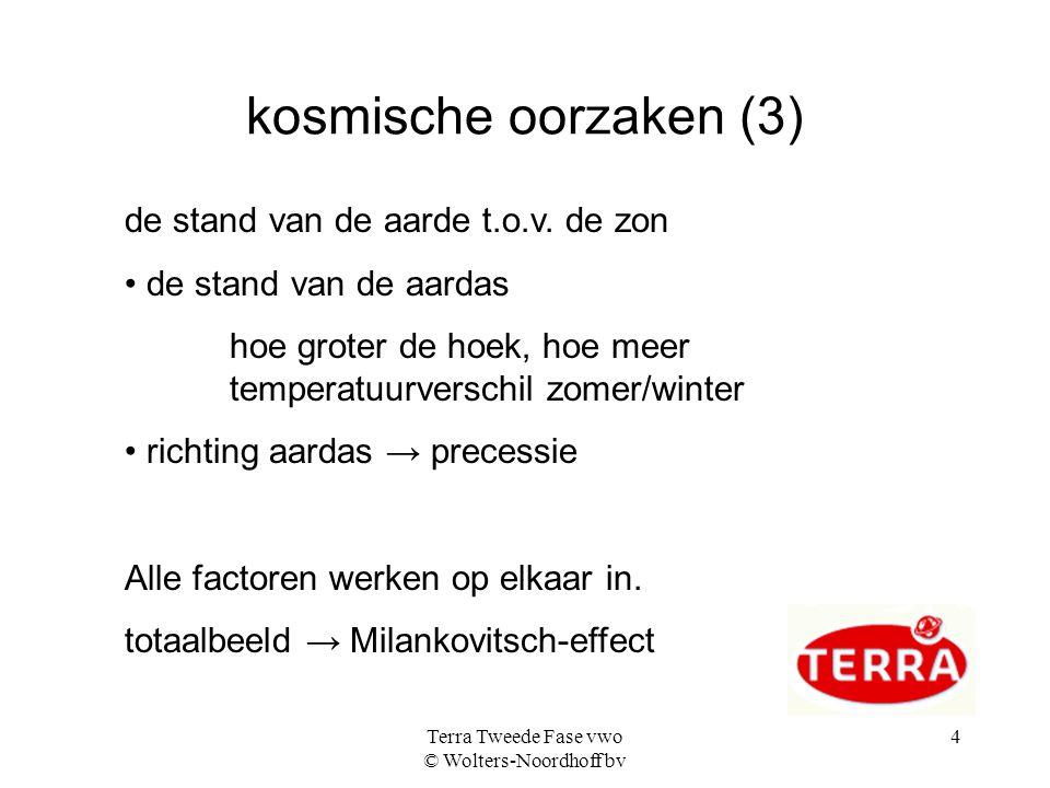 Terra Tweede Fase vwo © Wolters-Noordhoff bv 4 kosmische oorzaken (3) de stand van de aarde t.o.v.