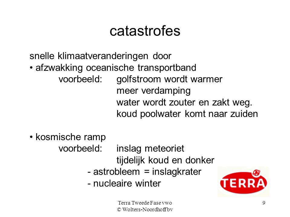Terra Tweede Fase vwo © Wolters-Noordhoff bv 9 catastrofes snelle klimaatveranderingen door afzwakking oceanische transportband voorbeeld: golfstroom wordt warmer meer verdamping water wordt zouter en zakt weg.