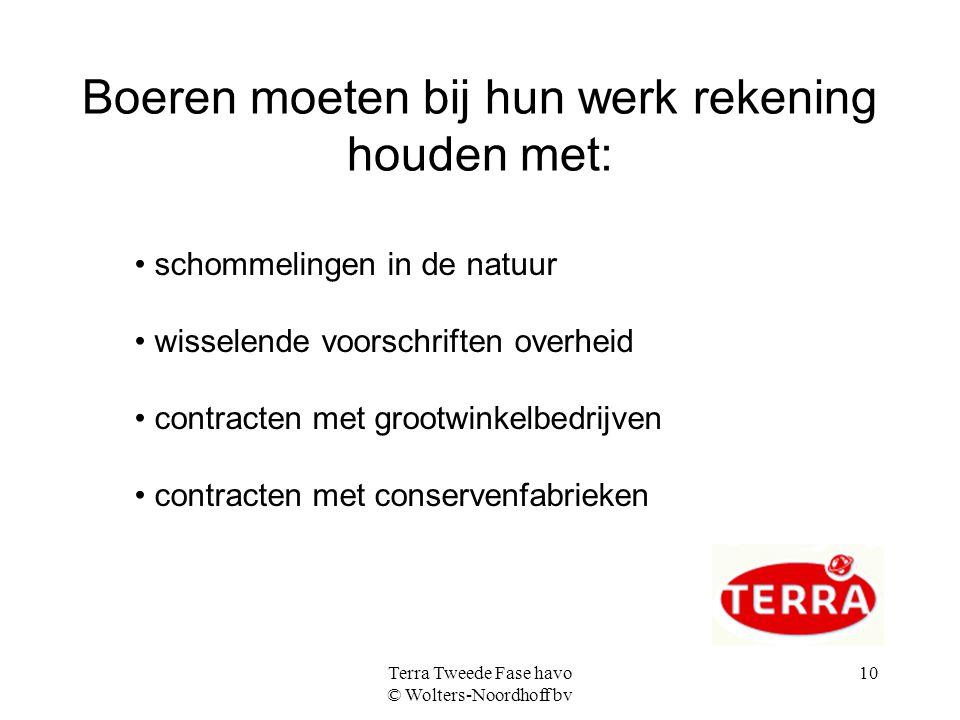 Terra Tweede Fase havo © Wolters-Noordhoff bv 10 Boeren moeten bij hun werk rekening houden met: schommelingen in de natuur wisselende voorschriften o