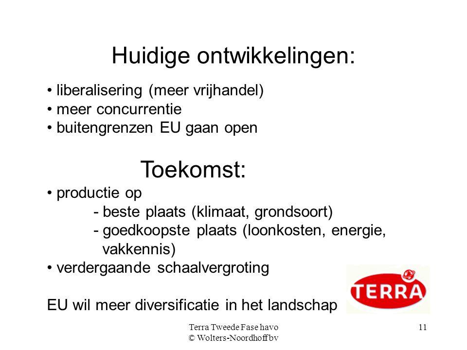 Terra Tweede Fase havo © Wolters-Noordhoff bv 11 Huidige ontwikkelingen: liberalisering (meer vrijhandel) meer concurrentie buitengrenzen EU gaan open