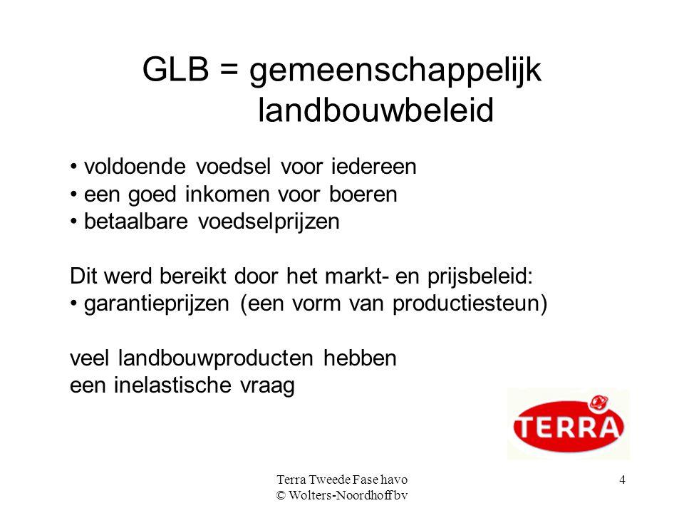 Terra Tweede Fase havo © Wolters-Noordhoff bv 4 GLB = gemeenschappelijk landbouwbeleid voldoende voedsel voor iedereen een goed inkomen voor boeren be