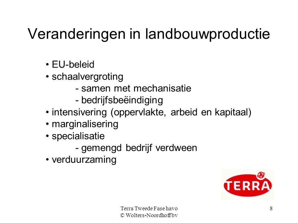 Terra Tweede Fase havo © Wolters-Noordhoff bv 9 EU-landbouwbeleid gunstig voor: grote boeren chemische industrie agrarische industrie importeurs en transporteurs consumenten ongunstig voor: consument behandeling dieren boeren buiten de EU de natuur: minder bio-diversiteit