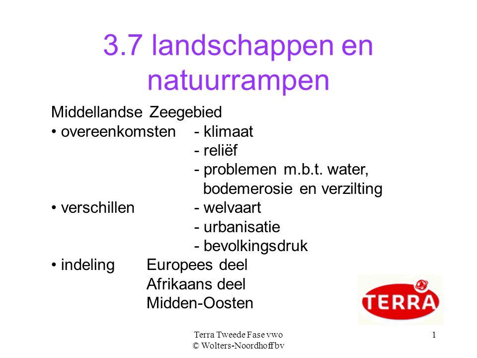 Terra Tweede Fase vwo © Wolters-Noordhoff bv 1 3.7 landschappen en natuurrampen Middellandse Zeegebied overeenkomsten - klimaat - reliëf - problemen m