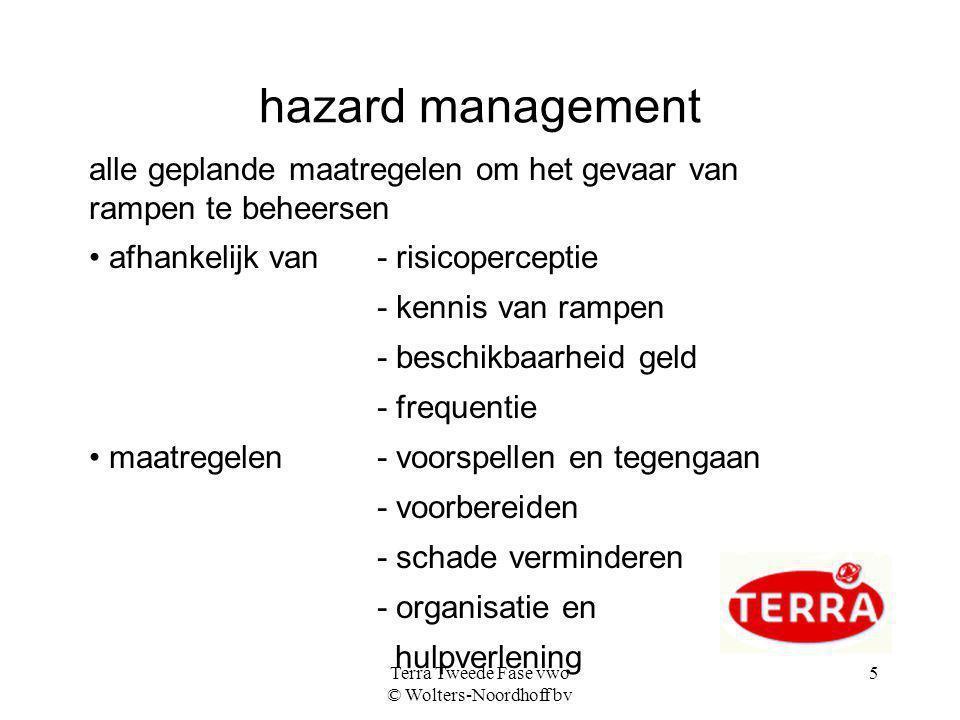 Terra Tweede Fase vwo © Wolters-Noordhoff bv 5 hazard management alle geplande maatregelen om het gevaar van rampen te beheersen afhankelijk van- risi