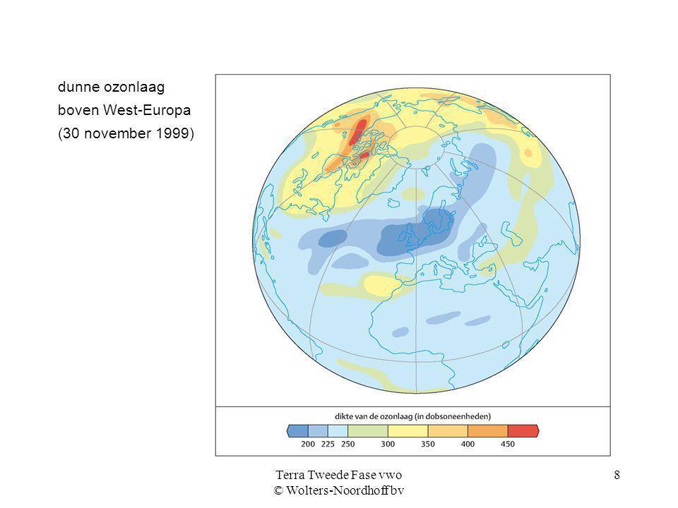 Terra Tweede Fase vwo © Wolters-Noordhoff bv 8 dunne ozonlaag boven West-Europa (30 november 1999)