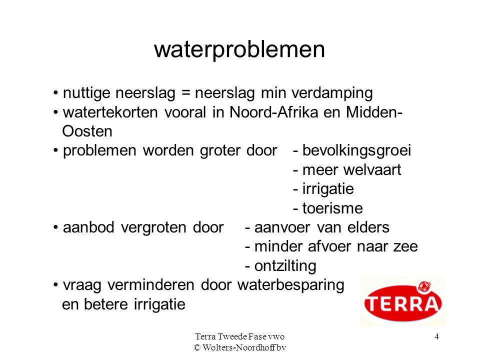 Terra Tweede Fase vwo © Wolters-Noordhoff bv 5 zeevervuiling bronnen - ongezuiverd rioolwater - rampen olietankers - landbouw - industrie - steden Vooral veel ongezuiverd water vanuit Noord- Afrika en het Midden-Oosten