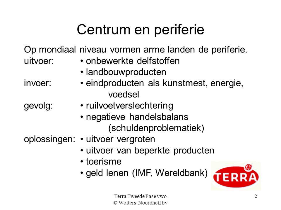 Terra Tweede Fase vwo © Wolters-Noordhoff bv 2 Centrum en periferie Op mondiaal niveau vormen arme landen de periferie.