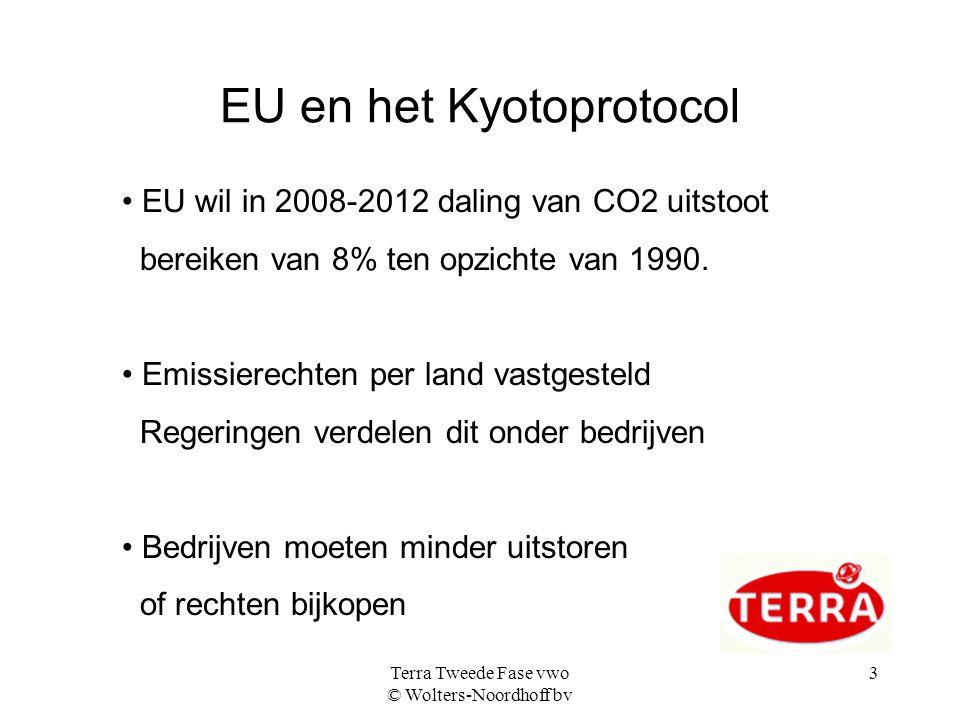 Terra Tweede Fase vwo © Wolters-Noordhoff bv 3 EU en het Kyotoprotocol EU wil in 2008-2012 daling van CO2 uitstoot bereiken van 8% ten opzichte van 1990.