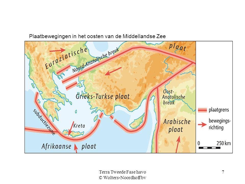 Terra Tweede Fase havo © Wolters-Noordhoff bv 7 Plaatbewegingen in het oosten van de Middellandse Zee