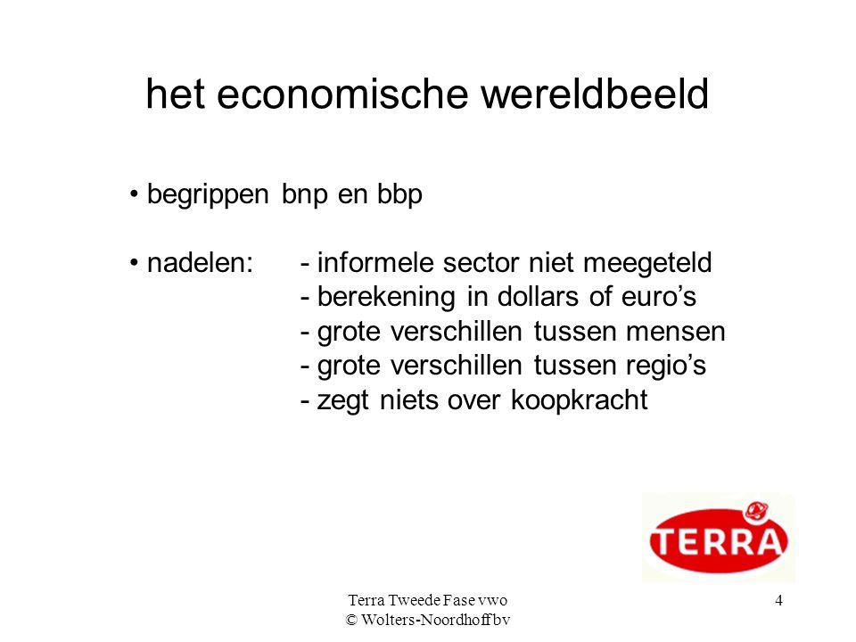 Terra Tweede Fase vwo © Wolters-Noordhoff bv 4 het economische wereldbeeld begrippen bnp en bbp nadelen: - informele sector niet meegeteld - berekenin