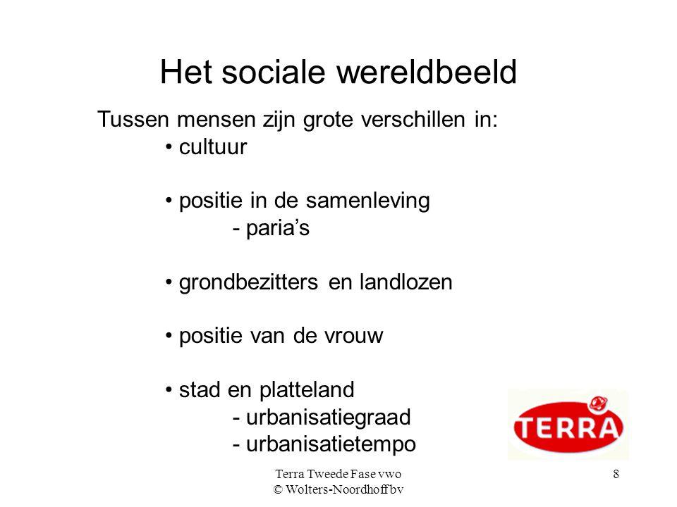 Terra Tweede Fase vwo © Wolters-Noordhoff bv 8 Het sociale wereldbeeld Tussen mensen zijn grote verschillen in: cultuur positie in de samenleving - pa