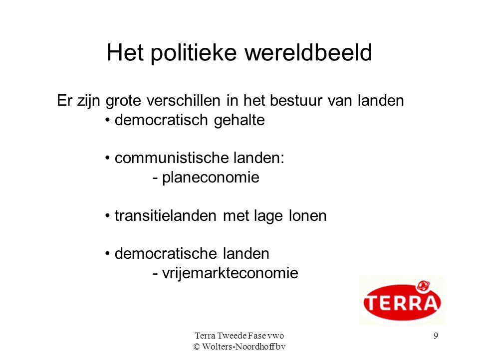 Terra Tweede Fase vwo © Wolters-Noordhoff bv 9 Het politieke wereldbeeld Er zijn grote verschillen in het bestuur van landen democratisch gehalte comm