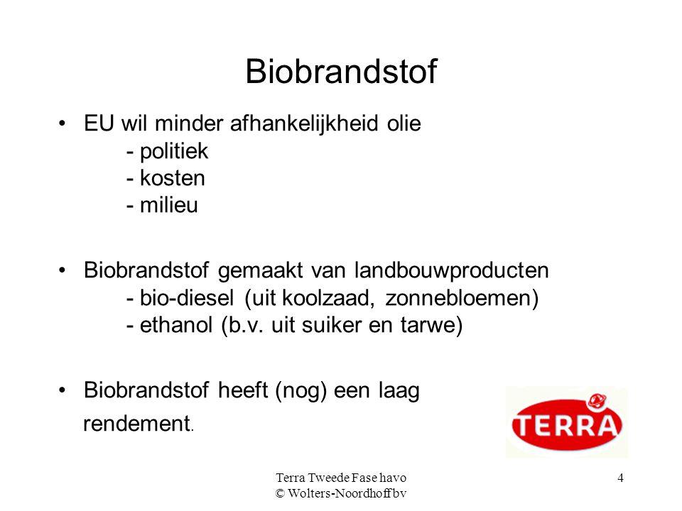 Terra Tweede Fase havo © Wolters-Noordhoff bv 4 Biobrandstof EU wil minder afhankelijkheid olie - politiek - kosten - milieu Biobrandstof gemaakt van