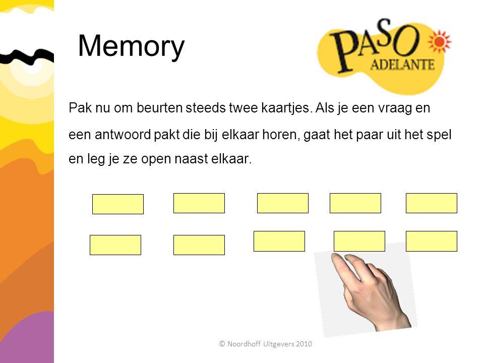 Memory Pak nu om beurten steeds twee kaartjes. Als je een vraag en een antwoord pakt die bij elkaar horen, gaat het paar uit het spel en leg je ze ope
