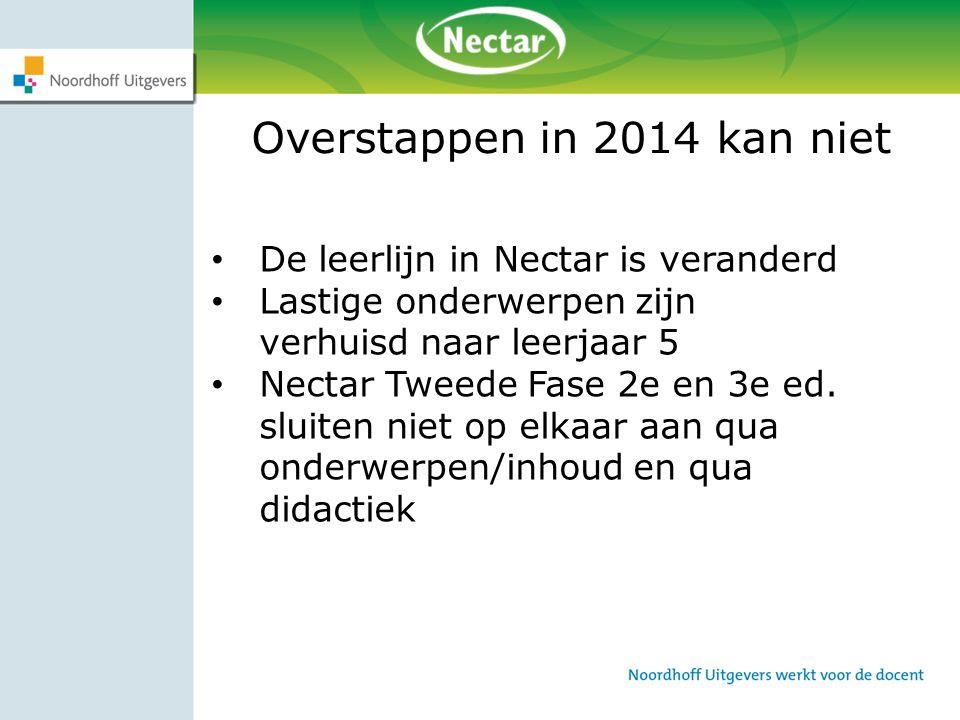 Overstappen in 2014 kan niet De leerlijn in Nectar is veranderd Lastige onderwerpen zijn verhuisd naar leerjaar 5 Nectar Tweede Fase 2e en 3e ed. slui