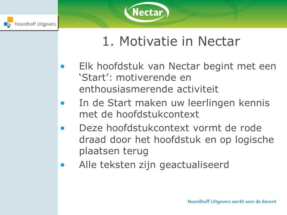 1. Motivatie in Nectar Elk hoofdstuk van Nectar begint met een 'Start': motiverende en enthousiasmerende activiteit In de Start maken uw leerlingen ke
