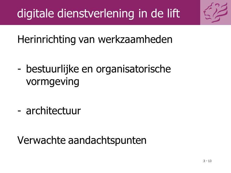 3 - 13 digitale dienstverlening in de lift Herinrichting van werkzaamheden -bestuurlijke en organisatorische vormgeving -architectuur Verwachte aandac