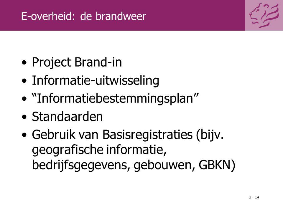 """3 - 14 E-overheid: de brandweer Project Brand-in Informatie-uitwisseling """"Informatiebestemmingsplan"""" Standaarden Gebruik van Basisregistraties (bijv."""