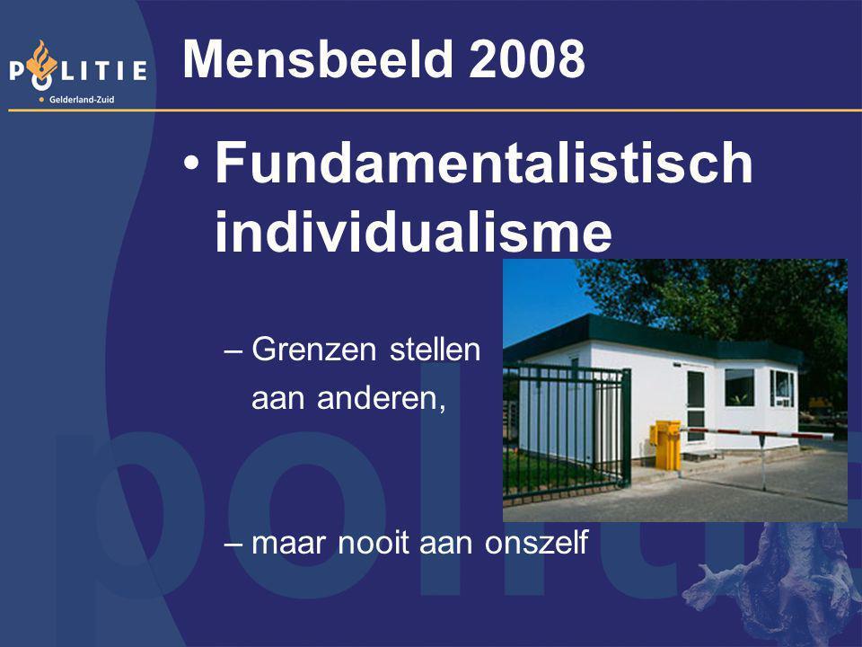 Mensbeeld 2008 Fundamentalistisch individualisme –Grenzen stellen aan anderen, –maar nooit aan onszelf