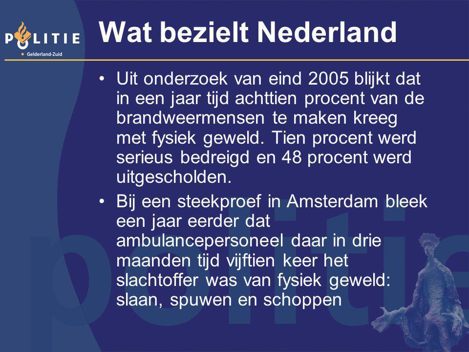 Wat bezielt Nederland Uit onderzoek van eind 2005 blijkt dat in een jaar tijd achttien procent van de brandweermensen te maken kreeg met fysiek geweld