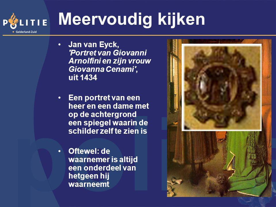 Meervoudig kijken Jan van Eyck, 'Portret van Giovanni Arnolfini en zijn vrouw Giovanna Cenami', uit 1434 Een portret van een heer en een dame met op d