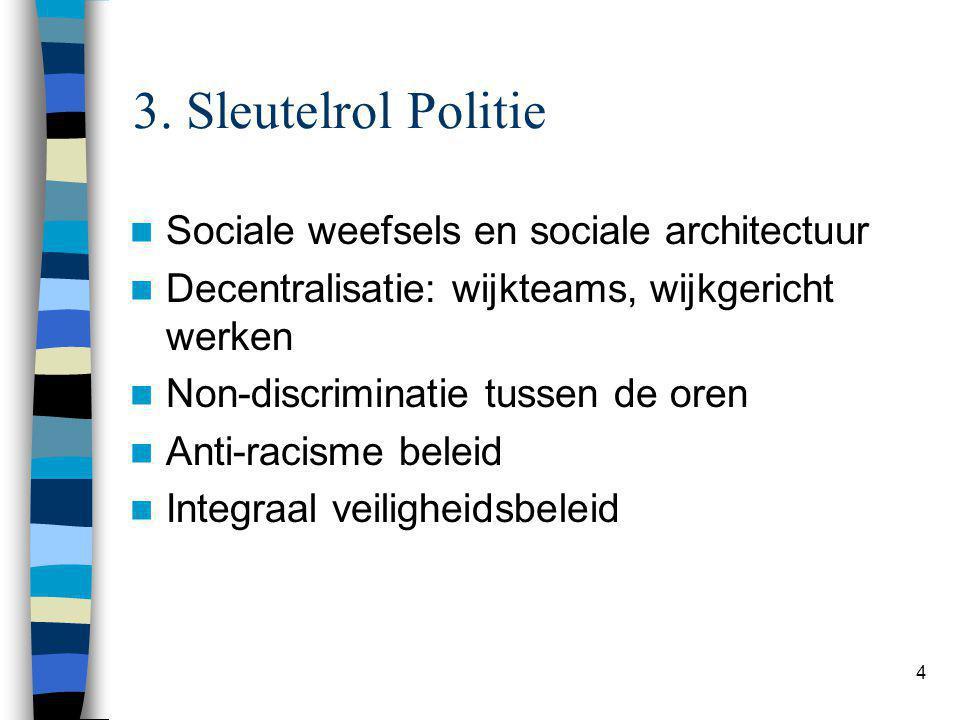 4 3. Sleutelrol Politie Sociale weefsels en sociale architectuur Decentralisatie: wijkteams, wijkgericht werken Non-discriminatie tussen de oren Anti-
