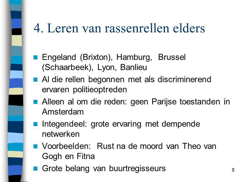 5 4. Leren van rassenrellen elders Engeland (Brixton), Hamburg, Brussel (Schaarbeek), Lyon, Banlieu Al die rellen begonnen met als discriminerend erva