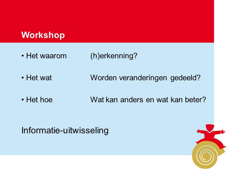 Project Kwaliteit Brandweerpersoneel Pagina 6 Workshop Het waarom(h)erkenning? Het watWorden veranderingen gedeeld? Het hoeWat kan anders en wat kan b