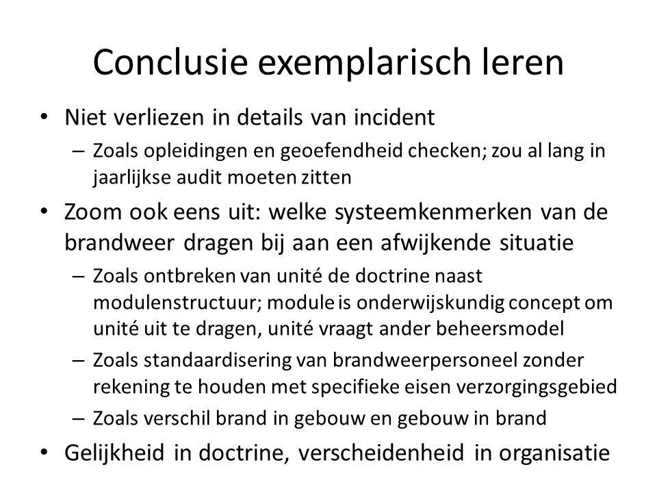 Conclusie exemplarisch leren Niet verliezen in details van incident – Zoals opleidingen en geoefendheid checken; zou al lang in jaarlijkse audit moete