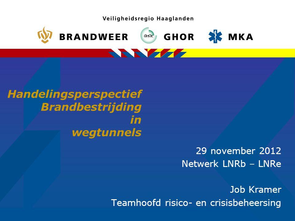Handelingsperspectief Brandbestrijding in wegtunnels 29 november 2012 Netwerk LNRb – LNRe Job Kramer Teamhoofd risico- en crisisbeheersing
