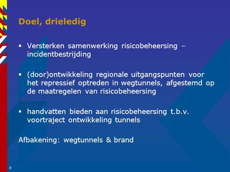 3 Doel, drieledig  Versterken samenwerking risicobeheersing – incidentbestrijding  (door)ontwikkeling regionale uitgangspunten voor het repressief optreden in wegtunnels, afgestemd op de maatregelen van risicobeheersing  handvatten bieden aan risicobeheersing t.b.v.