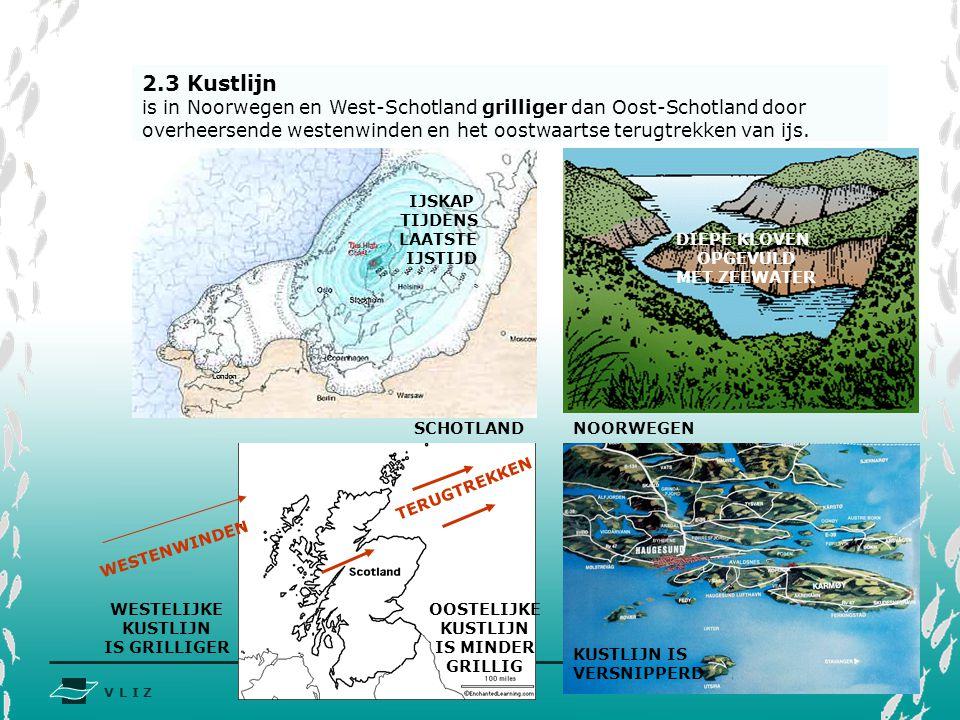 V L I Z www.vliz.be Zeelessen DIEPE KLOVEN OPGEVULD MET ZEEWATER 2.3 Kustlijn is in Noorwegen en West-Schotland grilliger dan Oost-Schotland door over