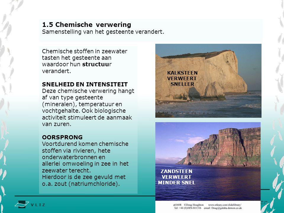 V L I Z www.vliz.be Zeelessen 1.5 Chemische verwering Samenstelling van het gesteente verandert. KALKSTEEN VERWEERT SNELLER ZANDSTEEN VERWEERT MINDER