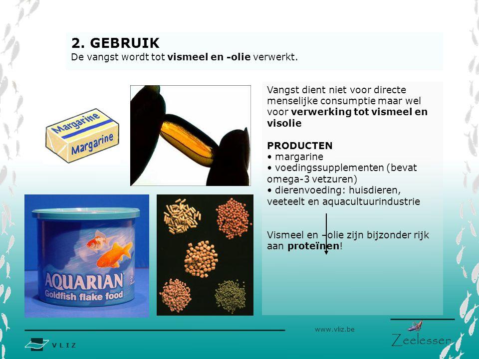V L I Z www.vliz.be Zeelessen Vangst dient niet voor directe menselijke consumptie maar wel voor verwerking tot vismeel en visolie PRODUCTEN margarine