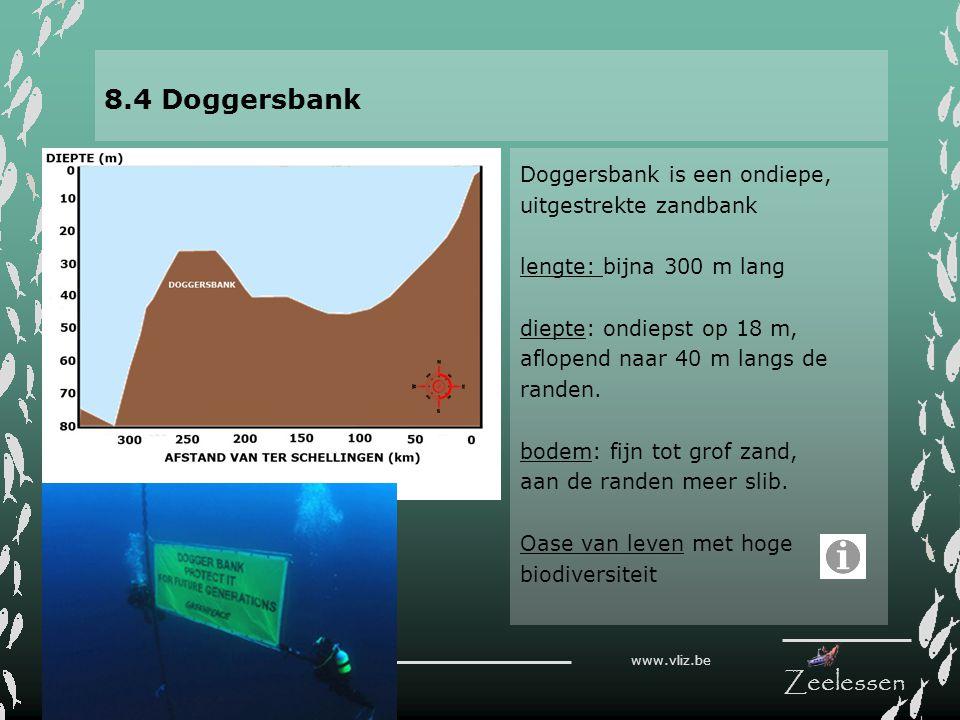 V L I Z www.vliz.be Zeelessen 8.4 Doggersbank Doggersbank is een ondiepe, uitgestrekte zandbank lengte: bijna 300 m lang diepte: ondiepst op 18 m, afl